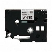 "Brother 6mm (1/4"") Black Writing on White Background Laminated Tape"