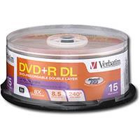 Verbatim DVD+R 8X 8.5GB Dual Layer Spindle 15 Packs (95484)