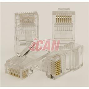 iCAN RJ45 Cat5e 50u Connector Plugs 25 pcs  (for Solid/Stranded Cat5 patch cable termination) (CON STC5-3025)