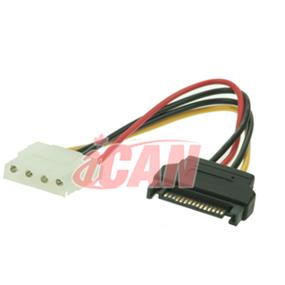 iCAN SATA-to-Molex (M/F) Power Adapter (Convert 15-pin SATA Power to 4 Pin Molex ATX Power)(PWR SA15M-M4F-06)