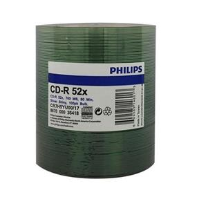 Philips CD-R 52X 80min 700MB Silver Matte Surface Shrink Wrap 100 Packs (CR7H5YU00/17)