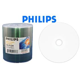 Philips CD-R 52X 80min White Smooth to Metalized Hub Inkjet Printable Surface Clear Bulk Wrap 100 Packs (CR7M5JU00/17)