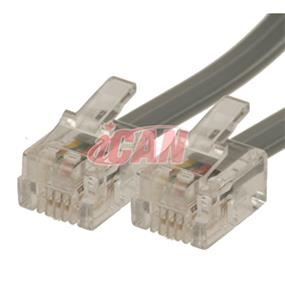 iCAN Telephone Cable with 6Position 4-contacts Reverse-wired - 50 ft. (RJ11-050)