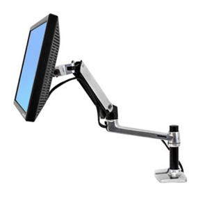 "Ergotron LX Desk Mount LCD Arm - Mounting kit (articulating arm, desk clamp mount, grommet mount, extension brackets) for LCD display - aluminum - polished aluminum - screen size: up to 25"" (45-241-026)"