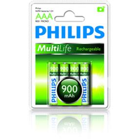 Philips Mutilife 4xAAA 900mAh High Capacity NIMH Rechargeable Battery (R03B4A90/27)