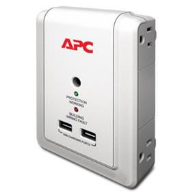 APC Essential SurgeArrest Wall Mount - 4 Outlet, 2 USB, 120V (P4WUSB)