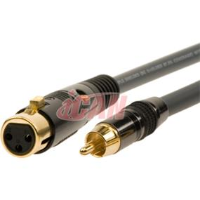 iCAN XLR-F RCA-M 22AWG High Clarity/Resolution ProAudio Silver Wires OD=8mm - 3 ft. (PAXLRFRCAM-003)