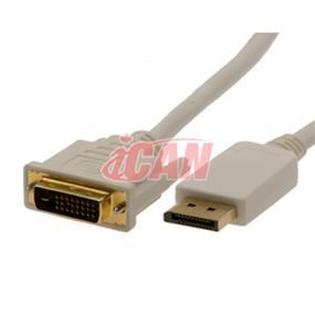 iCAN Displayport Male to DVI-D Male Premium Video Cable - 6 ft. (DPM-DVIDM-GP-06)