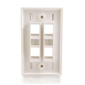 Cables To Go 4-Port Single Gang Multimedia Keystone Wall Plate - White (03413)