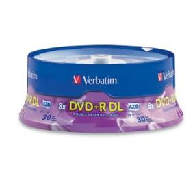 Verbatim DVD+R 8X 8.5GB Double Layer 30 Pack Spindle (96542)
