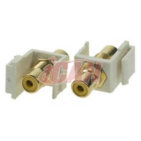 iCAN RCA Female/Female Keystone Coupler  (Yellow) (KS RCA-YEL-FF-B)