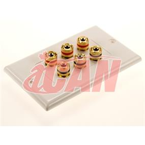 iCAN High Quality Banana Binding Post Two-Piece Inset Wall Plate for 3 Speakers - Coupler Type (FP SPK-BB-3P)