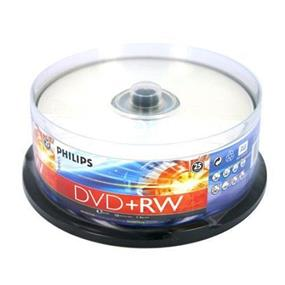 Philips DVD+RW 4X 4.7GB Full Logo Rewritable Discs (Branded) Surface Cake Box 25 Packs (DW4S4B25F/17)