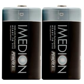 """Powerex (MHRDI2) 9500mAh 2-Pack D IMEDION """"Ready When You Are!"""" Rechargeable Batteries"""