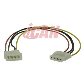 "iCAN Internal Computer Power Extension Cable/Cord -  Molex 4-pin (5.25"" Power) Male to Female Extension - 12"" (PWR MOLEX4MF-12)"