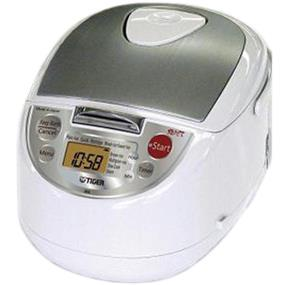 Tiger JBA-T18U 10 Cups 3-in-1 Microcomputer Controlled Rice Cooker / Steamer / Slow Cooker - White & Stainless Steel (JBA-T18U)