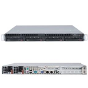 "Supermicro SuperServer (5017C-URF) - Barebone System - 1U Rack-mountable - Single socket H2 (LGA 1155) - Intel® C216 Express PCH chipset - 4x 3.5"" Hot-swap SATA2 HDDs - 1 PCI-E 3.0 x16, 2 PCI-E 2.0 x4 in x8 - Up to 32GB DDR3 ECC 1333MHz /1600MHz UDIMMs in 4 sockets - Intel® 82574L Dual port GbE LAN - I/O ports: 2x GbE LAN, 1x Dedicated LAN for IPMI Remote Management, 1x VGA, 1x COM, 2x PS/2, 2x USB - 3x 4cm Counter-rotating PWM fans - 500W Redundant High-Efficiency"