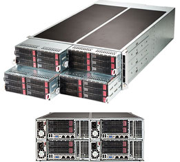 "Supermicro System SYS-F627R3-RTB+ 4U - Intel Xeon processor E5-2600 family; QPI up to 8GT/s - Up to 512GB DDR3 1600MHz ECC  Registered DIMM; 16x DIMM sockets - 1 PCI-E 3.0 x16 (LP) + 1 Micro LP - I/O ports: 2 GbE ports, 1 Built-in video, 1 COM/Serial port, 2 USB 2.0 ports - Built-in Server management tool (IPMI 2.0, KVM/media over LAN) with dedicated LAN port - 6+2 Hot-swap 3.5"" SATA HDD Bays - 2 heavy duty internal fans - 1280W Redundant Power Supplies 80 PLUS, Platinum Level (95%)"