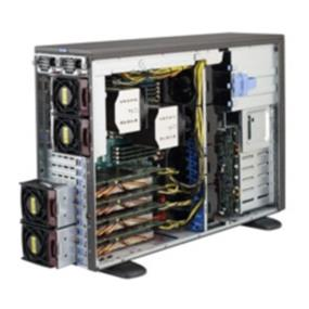 "Supermicro System SYS-7047GR-TPRF  4U - Intel Xeon processor E5-2600 family; QPI up to 8GT/s - Up to 512GB DDR3 1600MHz ECC Registered DIMM; 16x DIMM sockets - Expansion slots: 4 PCI-E 3.0 x16 (4x double-width GPU cards opt.), 2 PCI-E 3.0 x8 (1 in x16), 1 PCI-E 2.0 x4 (in x8) - I/O ports: 1 VGA, 2 COM, 2 GbE, 10 USB 2.0, & 1 IPMI Dedicated LAN - 8x Hot-swap 3.5"", 3x Fixed 5.25"" and 1x Fixed 3.5"" Drive Bays - 4x Heavy Duty Fans, 4x Exhaust Fans, and 2x Active Heatsink with Optimal Fan Speed Control - 1620W Redundant Power Supplies 80 PLUS, Platinum Level (94%) -Tower or Rackmount"