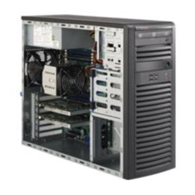 "Supermicro System SYS-5037A-I Server System Mid-Tower - Single socket R (LGA 2011) supports Intel  Xeon processor E5-2600/1600 - Up to 256GB RDIMM or 64GB UDIMM; DDR3 up to 1600MHz - Expansion slots: 2 x16 PCI-E 3.0, 1 x4 PCI-E 3.0 (in x8), 1 x4 PCI-E 2.0 (in x8), 1 x1 PCI-E 2.0 (in x4) - Intel® 82579LM and 82574L, 2x Gigabit Ethernet LAN ports - 4 USB 3.0 and 14 USB 2.0 ports - 4x 3.5"" SATA3 HDD bays, 90° rotating hard drive cage, 4x 2.5"" internal HDD/SSD bays (opt.)  - 900W Gold Level Power Supply"