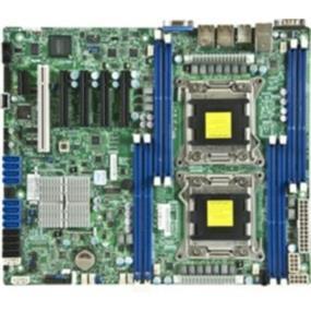 Supermicro Motherboard MBD-X9DRL-3F-O - Socket R LGA-2011 - Dual socket R (LGA 2011) supports Intel Xeon processor E5-2600 - Intel C606 chipset; QPI up to 8.0GT/s - Up to 256GB DDR3 1600MHz ECC Registered DIMM; 8x DIMM sockets - Expansion slots: 1 PCI, 1 PCI-E 2.0 x1, 3 PCI-E 3.0 x8, 1 PCI-E 2.0 x4 (in x8) - Intel® 82574L GbE LAN, 2 ports - 4x SATA2 and 2x SATA3 ports - Integrated IPMI 2.0 and KVM with Dedicated LAN - 9x USB 2.0 ports (4 rear, 4 via header + 1 Type A)