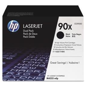 HP 90X (CE390XD) Black High Yield Original LaserJet Toner Cartridges, 2 pack