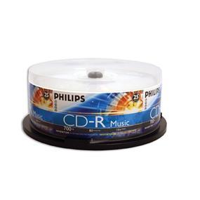 Philips CD-R Music Digital Audio 52X 80min Cake Box 25Packs (CD80R551)