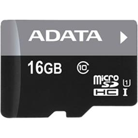 ADATA Premier 16GB microSDHC UHS-I Class 10 Flash Memory Card w/Adapter Upto 50MB/s Read, 10MB/s Write   (AUSDH16GUICL10-RA1)