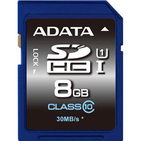 ADATA Premier 8GB SDHC UHS-I Class 10 Flash Card Upto 50MB/s Read, 10MB/s Write  (ASDH8GUICL10-R)