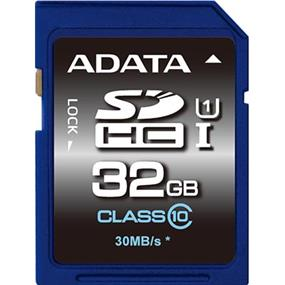 ADATA Premier 32GB SDHC UHS-I Class 10 Flash Card  Upto 50MB/s Read, 10MB/s Write (ASDH32GUICL10-R)