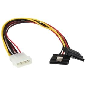 StarTech 12in LP4 to 2x Latching SATA Power Y Cable Splitter Adapter - 4 Pin Molex to Dual SATA (PYO2LP4LSATA)