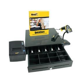 Wasp Quickstore POS Solution Standard - Quickstore software, Pole display, POS shoe, CCD LR barcode scanner, Receipt printer, Cash drawer, Scanner autosense stand