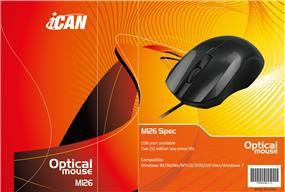 iCAN M126 Optical Mouse, Wired USB port, Black