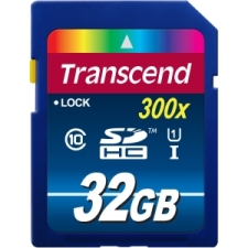 Transcend Premium 32GB SDHC Class 10 UHS-I 300x Flash Card, Up to 45MB/s Read, 25MB/s Write (TS32GSDU1)