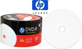 HP DVD-R 16X 4.7GB White Inkjet Printable Bulk Color Wrap 50Packs(DM16WJH050SW)
