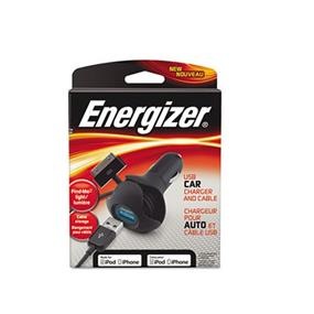 Energizer Swivel Car Charger with LED- iPod/iPhone 30 Pin- MFI Black
