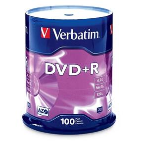 Verbatim 16x DVD+R Media - 4.7GB Branded Surface 100 Packs (95098)
