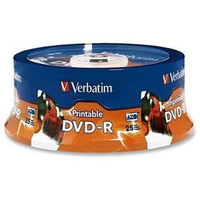 Verbatim DVD-R 16X 4.7GB White Inkjet, Hub Printable Spindle 25 Packs (96191)