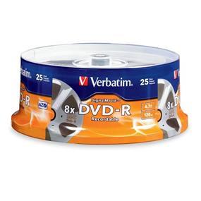 Verbatim DVD-R 8X DigitalMovie Spindle 25 Packs (94866)