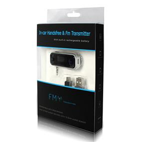 FM TRANSMITTER for All Phones and Audiio Devices with 3.5mm Audio Port, built-in rechargeable battery