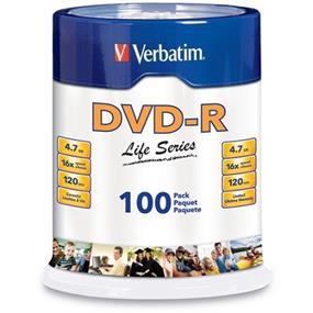 Verbatim DVD-R Life Serie 16X 4.7GB Spindle 100 Packs (97177)