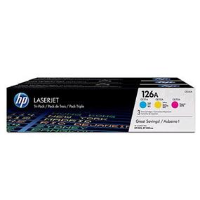 HP 126A (CF341A) Cyan, Magenta & Yellow Original LaserJet Toner Cartridges, 3 pack