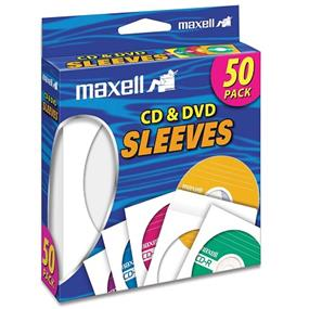 MAXELL - ACCESSORIES 50PK CD & DVD SLEEVES WHITE (PAPER)