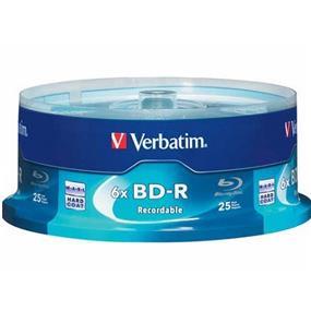 Verbatim 25 GB 6x Blu-ray Single Layer Recordable Disc BD-R, 25-Disc Spindle (97457)