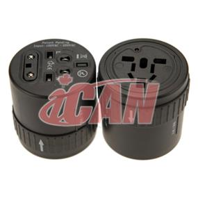 iCAN Rotary All-in-1 design UK US AU EU  Universal Travel Adapter for over 150 countries. (ADP UNI-PWR-01)