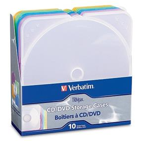Verbatim 93804 TRIMpak CD and DVD Storage Cases - 5 Assorted Colors (10-Pack)