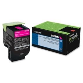 Lexmark 801HM Magenta High Yield Return Program Toner Cartridge - Magenta - Laser - 3000 Page (80C1HM0)