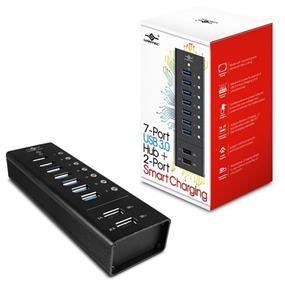 Vantec UGT-AH700U3-2C, 7 port USB 3.0 Aluminum Smart Charging Hub