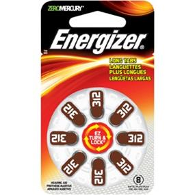 Energizer Size 312 Zinc-Oxide 1.4V Hearing Aid Batteries 8-Pack (AZ312DP8)