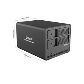 "ORICO 9528U3 Aluminum Tool Free 2 bay 3.5"" SATA to USB 3.0 External Hard Drive Enclosure Support 2x 6TB Drive"